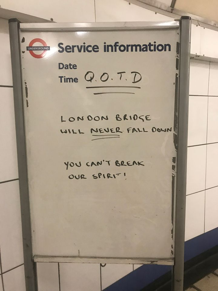 A sign at Walthamstow tube station in east London following last night's terrorist incident at London Bridge