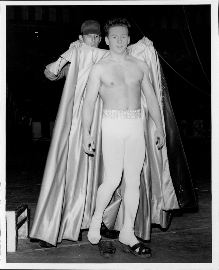 Gerard Soules gets ready for this act. May 15, 1960.