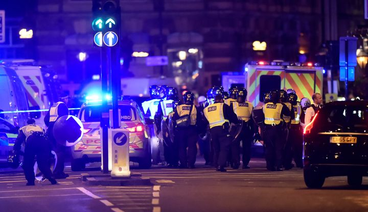 Police attend to an incident on London Bridge in London, that left several people dead.