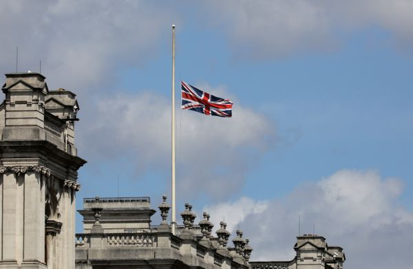 A union flag is flown at half mast in Westminster.