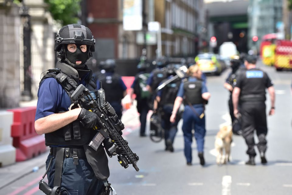 Armed police on St Thomas Street, London