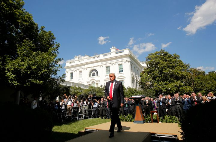 President Donald Trump departs the White House Rose Garden on June 1 after announcing his decision that the United States wil