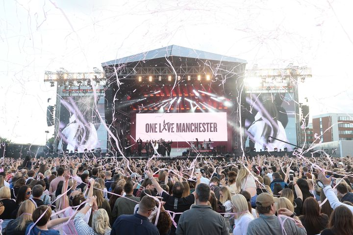 Ariana Grande performs at the 'One Love Manchester' concert.