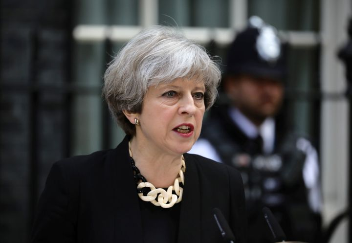 Britain's Prime Minister Theresa May speaks outside 10 Downing Street after an attack on London Bridge and Borough Market.&nb