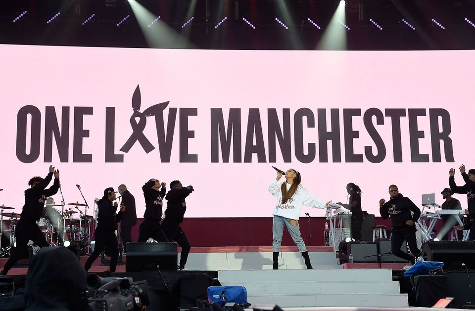 Ariana Grande performs on stage during the One Love Manchester Benefit Concert at Old Trafford on June 4, 2017 in Manchester,