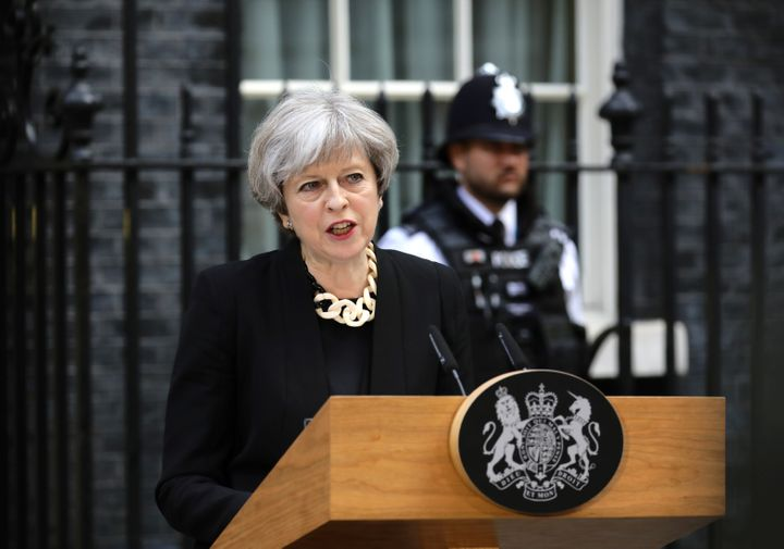 British Prime Minister Theresa May speaks outside 10 Downing Street after an attack on London Bridge and Borough Market left