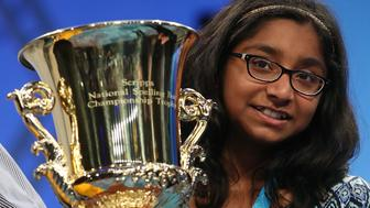 NATIONAL HARBOR, MD - JUNE 01:  12 year old Ananya Vinay of Fresno, CA. won the 2017 Scripps National Spelling Bee by spelling the word 'marocain', at Gaylord National Resort & Convention Center June 1, 2017 in National Harbor, Maryland. Close to 300 spellers are competing in the annual spelling contest for the top honor this year.  (Photo by Mark Wilson/Getty Images)