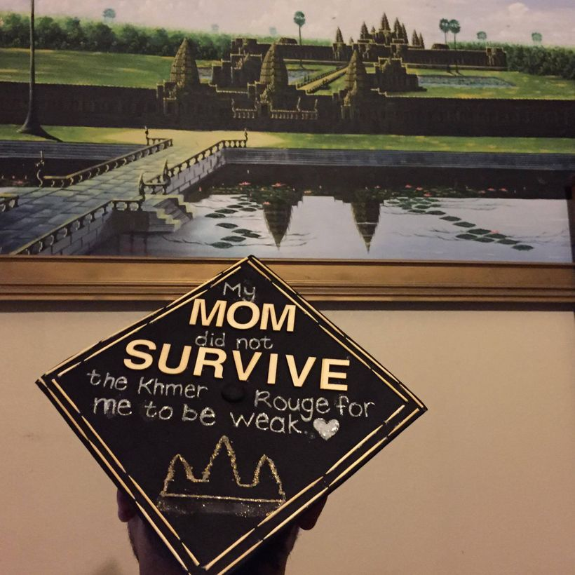 Sevly's college graduation cap was decorated to honor his mother's strength in finding the will to survive during the Cambodi