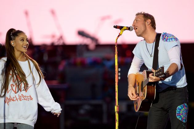 Ariana Grande and Chris Martin on stage art the One Love Manchester concert last