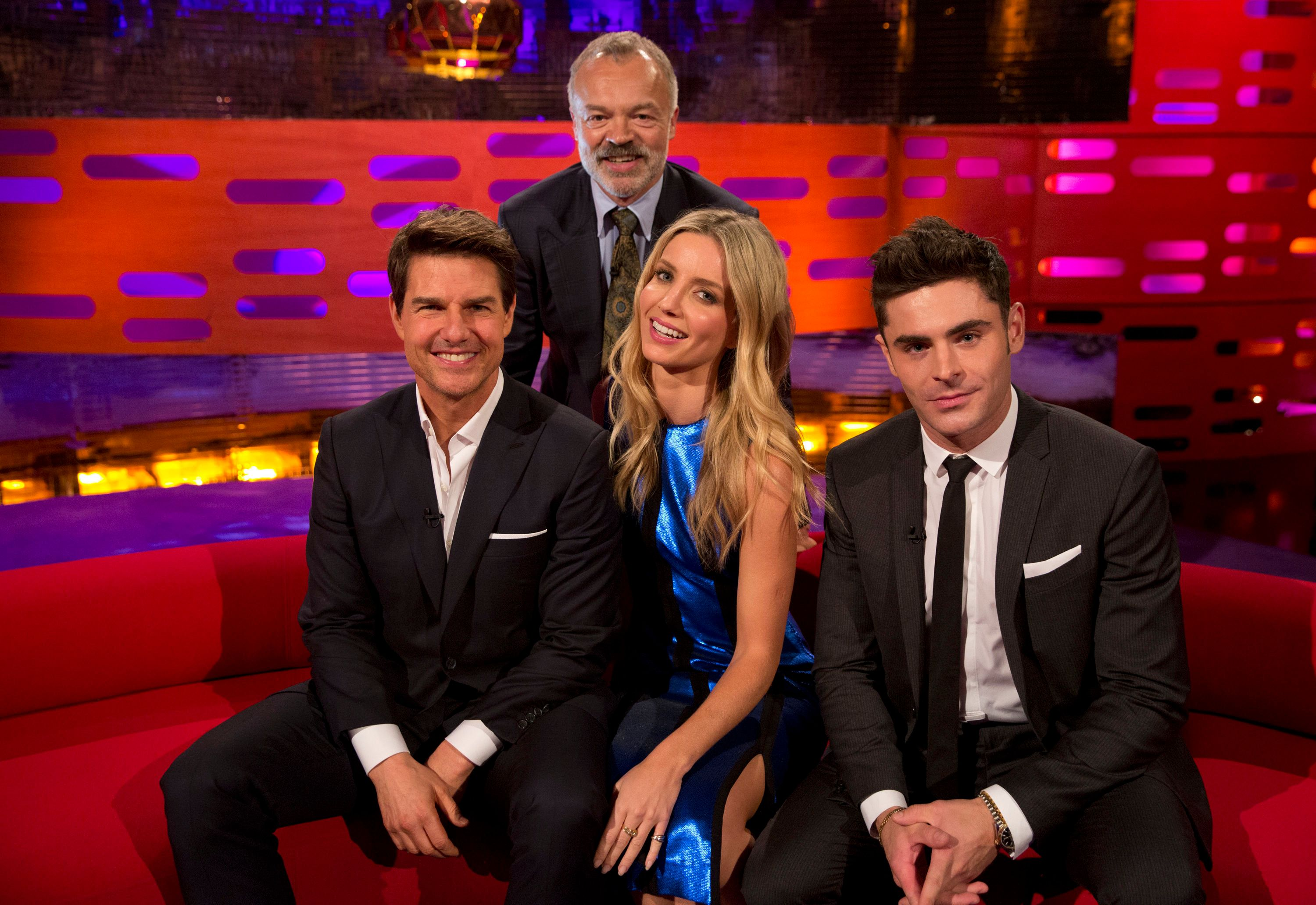 Graham Norton with his most recent guest list Tom Cruise, Annabelle Wallis and Zac