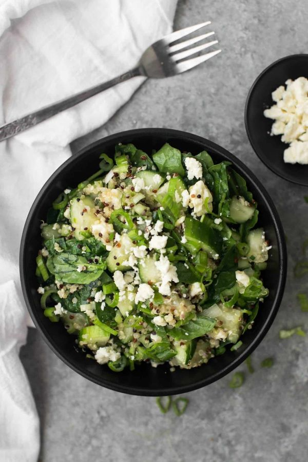 "<strong>Get the <a href=""https://naturallyella.com/cucumber-quinoa-salad/"" target=""_blank"">Cucumber Quinoa Salad with Feta re"