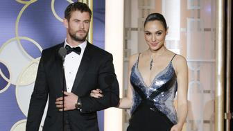 BEVERLY HILLS, CA - JANUARY 08: In this handout photo provided by NBCUniversal, presenters Chris Hemsworth (L) and Gal Gadot onstage during the 74th Annual Golden Globe Awards at The Beverly Hilton Hotel on January 8, 2017 in Beverly Hills, California. (Photo by Paul Drinkwater/NBCUniversal via Getty Images)