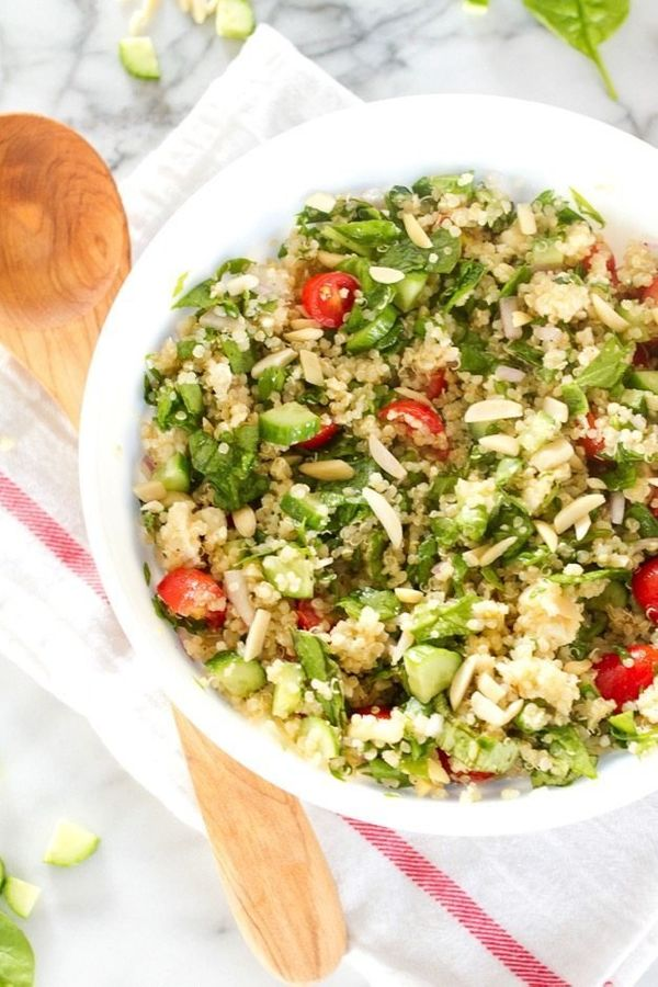 "<strong>Get the <a href=""https://www.eatingbirdfood.com/summer-greek-quinoa-salad/"" target=""_blank"">Summer Greek Quinoa Salad"