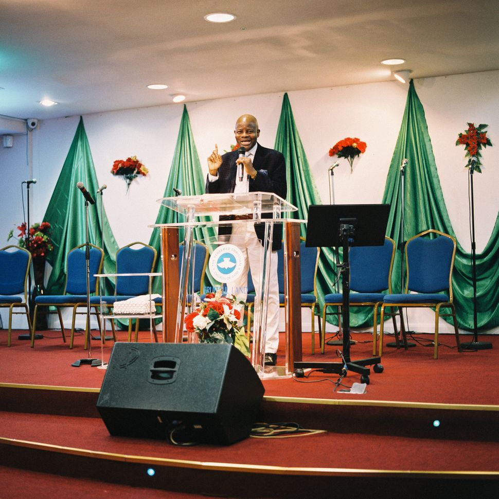 Pastor Abraham Bamgbose delivers a sermon at Fruitful Land in Tilbury on Jan. 29.