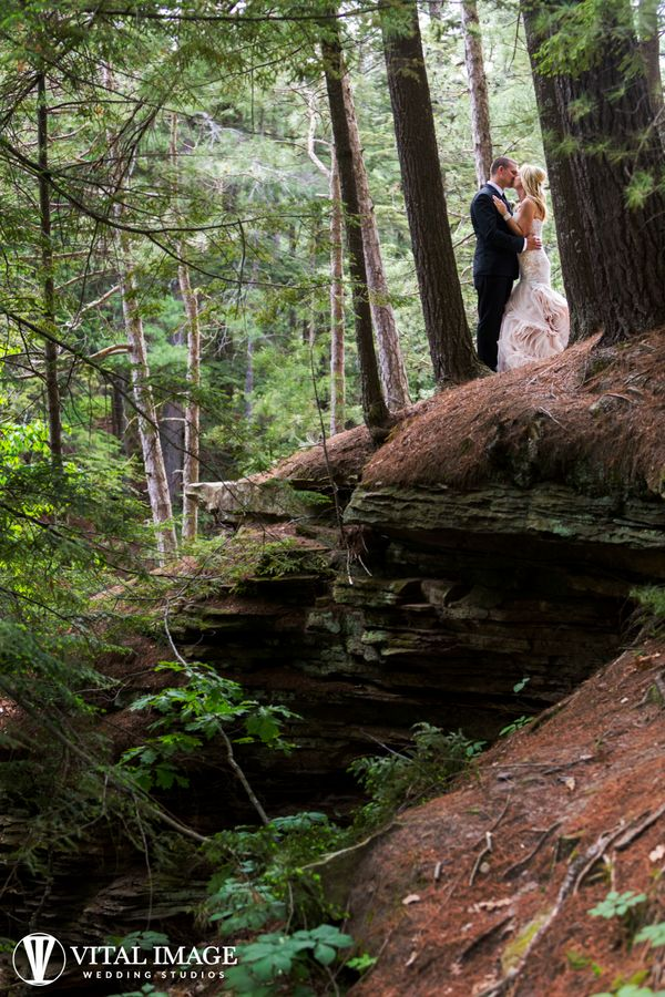 """""""With a beautiful day beginning to end, Jessica and Gavin were married under the trees in the Wisconsin Dells."""" --&nbsp"""