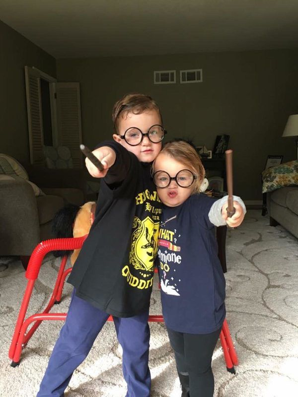 """What would Hermione do?"" Luke, 5, and Emmy, 3, love Harry Potter just like my husband, Matt, and I."
