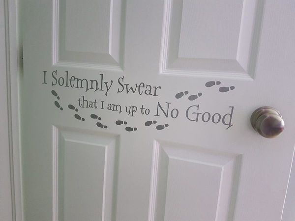 Decal on the outside of her door. Very fitting for my nearly 7-year-old.