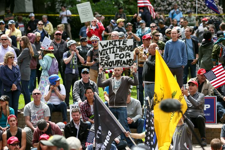 """The Portland ralliesincluded onefor """"free speech"""" and President Donald Trump; two counter-demonstrations -- one b"""