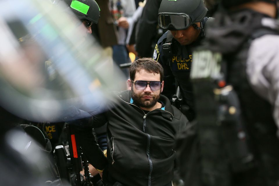 The first arrest of the day during protest in Portland yesterday.