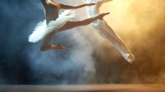 Classical ballet dancers performing on stage in theatre. There is a fog on the stage.