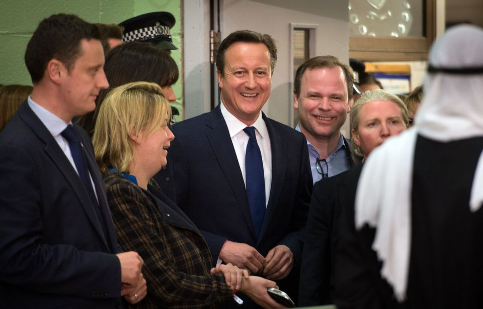 David Cameron with Craig Oliver as the PM receives his constituency result in