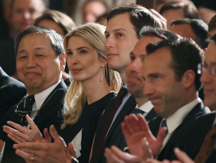 Ivanka Trump wears the dress on Monday asPresident Trump announces the modernization of the nation's air traffic control system in Washington, DC.