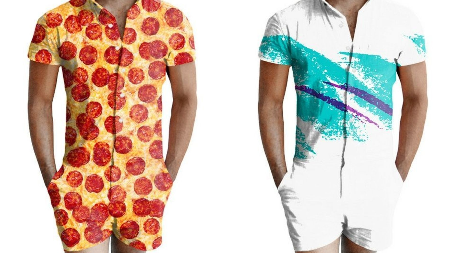 matching in colour official shop new style & luxury Now Men Can Wear Rompers With Pizza And Paper Cup Patterns ...