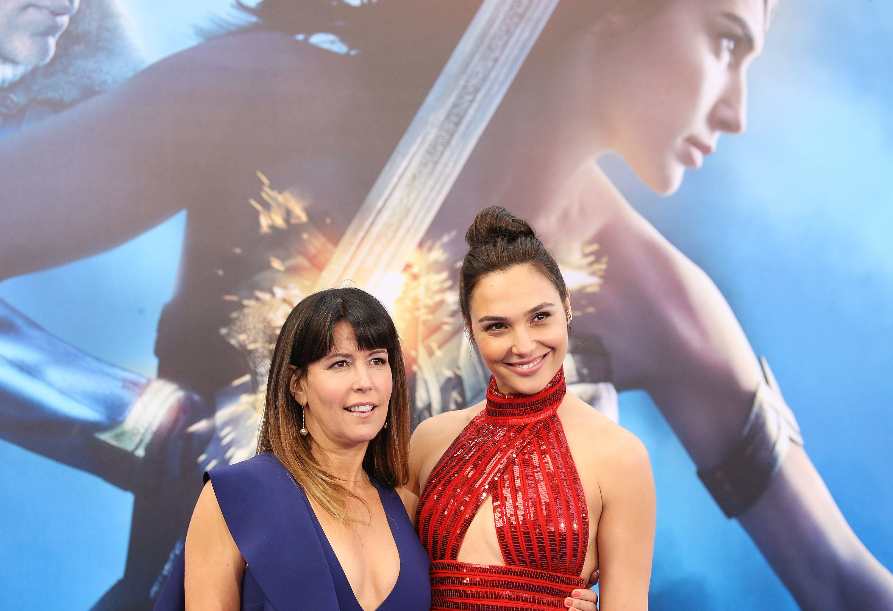 "Patty Jenkins and actress Gal Gadot at the Los Angeles ""Wonder Woman"" premiere."
