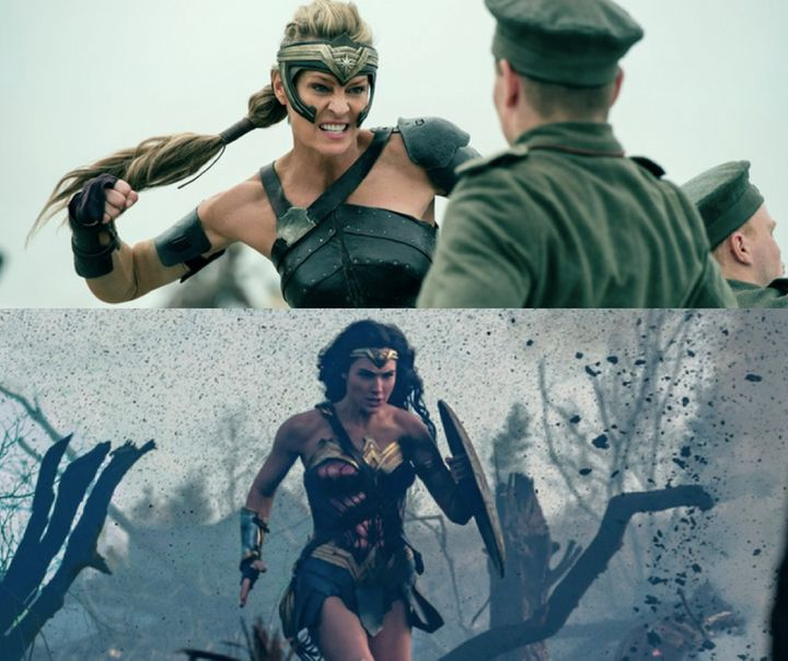 Robin Wright as General Antiope (top) and Gal Gadot as Wonder Woman sprinting through No Man's Land (bottom).