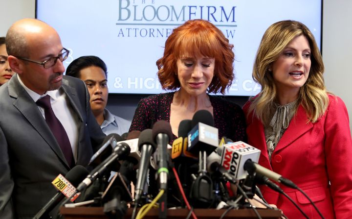 Attorney Dmitry Gorin, Kathy Griffin and attorney Lisa Bloom at Friday's press conference.