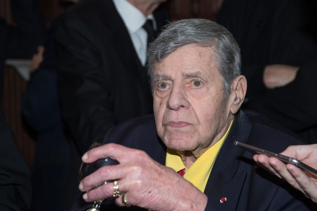 Comedian Jerry Lewis attends the 90th Birthday of Jerry Lewis at The Friars Club on April 8, 2016 in...