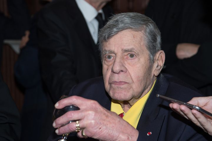 Comedian Jerry Lewis attends a celebration of his 90th birthday at The Friars Club in April 2016 in New York.