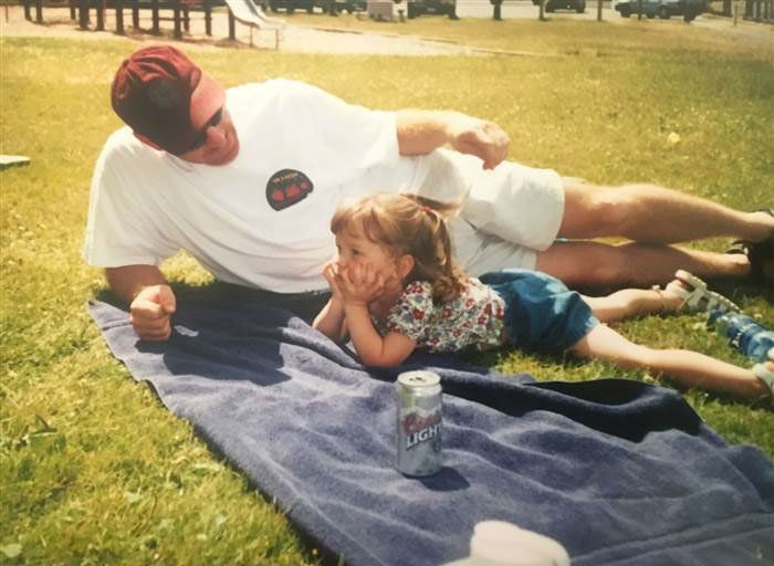 Meg with her dad when she was 4.