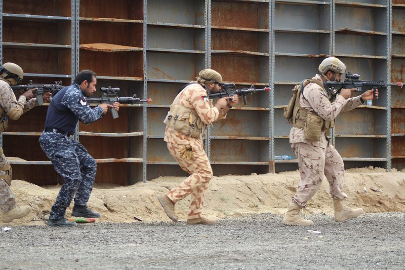 Military personnel from Kuwait, Qatar, Saudi Arabia and the U.S. conduct counter-terrorism drills as part of Eagle Resolve 20