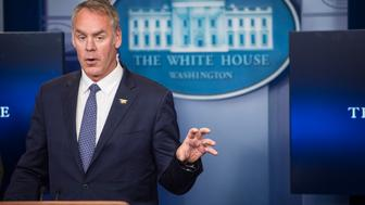 WASHINGTON, DC - APRIL 3: Interior Secretary Ryan Zinke speaks during the daily briefing at the White House in Washington, DC on Monday, April 03, 2017. President Donald Trump gave his first quarter salary to the National Park Service. (Photo by Jabin Botsford/The Washington Post via Getty Images)