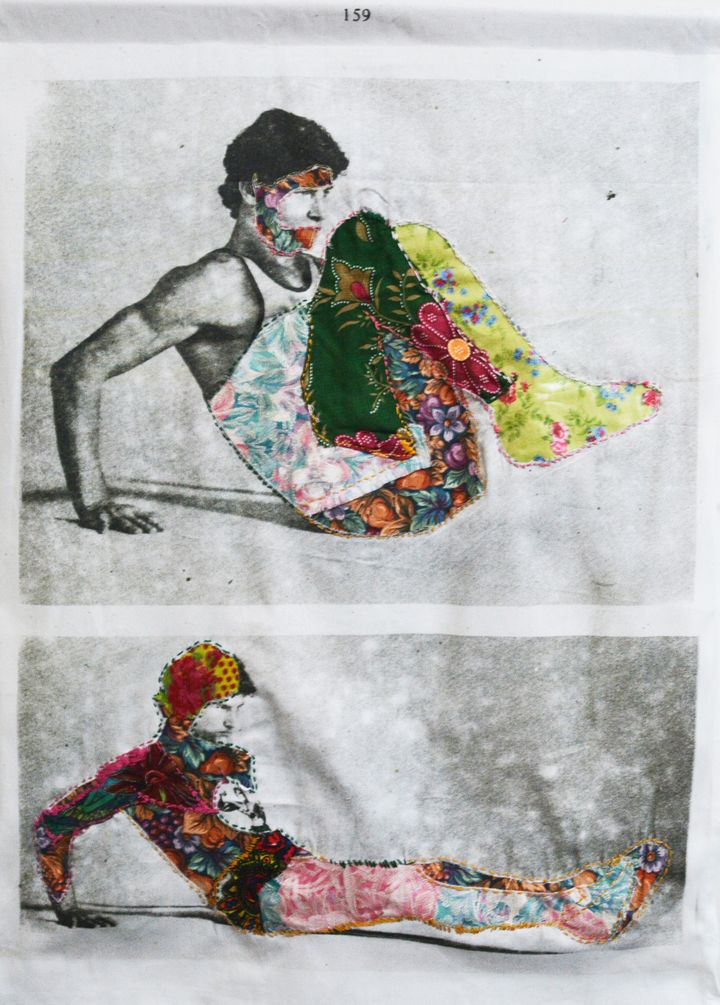 """2017, Reclining 25 x 35"""" Inkjet print on cotton fabric, printed polyester and embroidery. Hand stitched"""