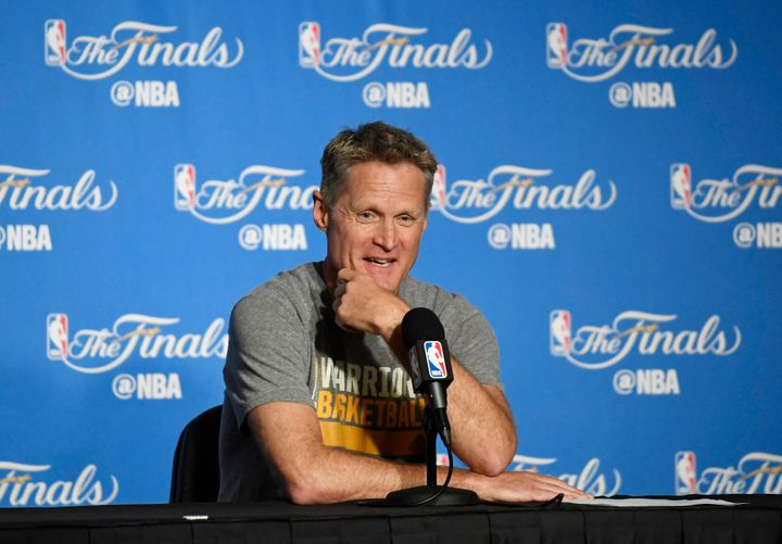 Oakland, CA, USA; Golden State Warriors head coach Steve Kerr speaks at a press conference before game two of the 2017 NBA Fi