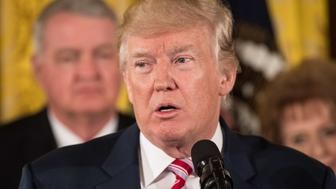 US President Donald Trump announces the Air Traffic Control Reform Initiative in the East Room at the White House in Washington, DC, on June 5, 2017. / AFP PHOTO / NICHOLAS KAMM        (Photo credit should read NICHOLAS KAMM/AFP/Getty Images)