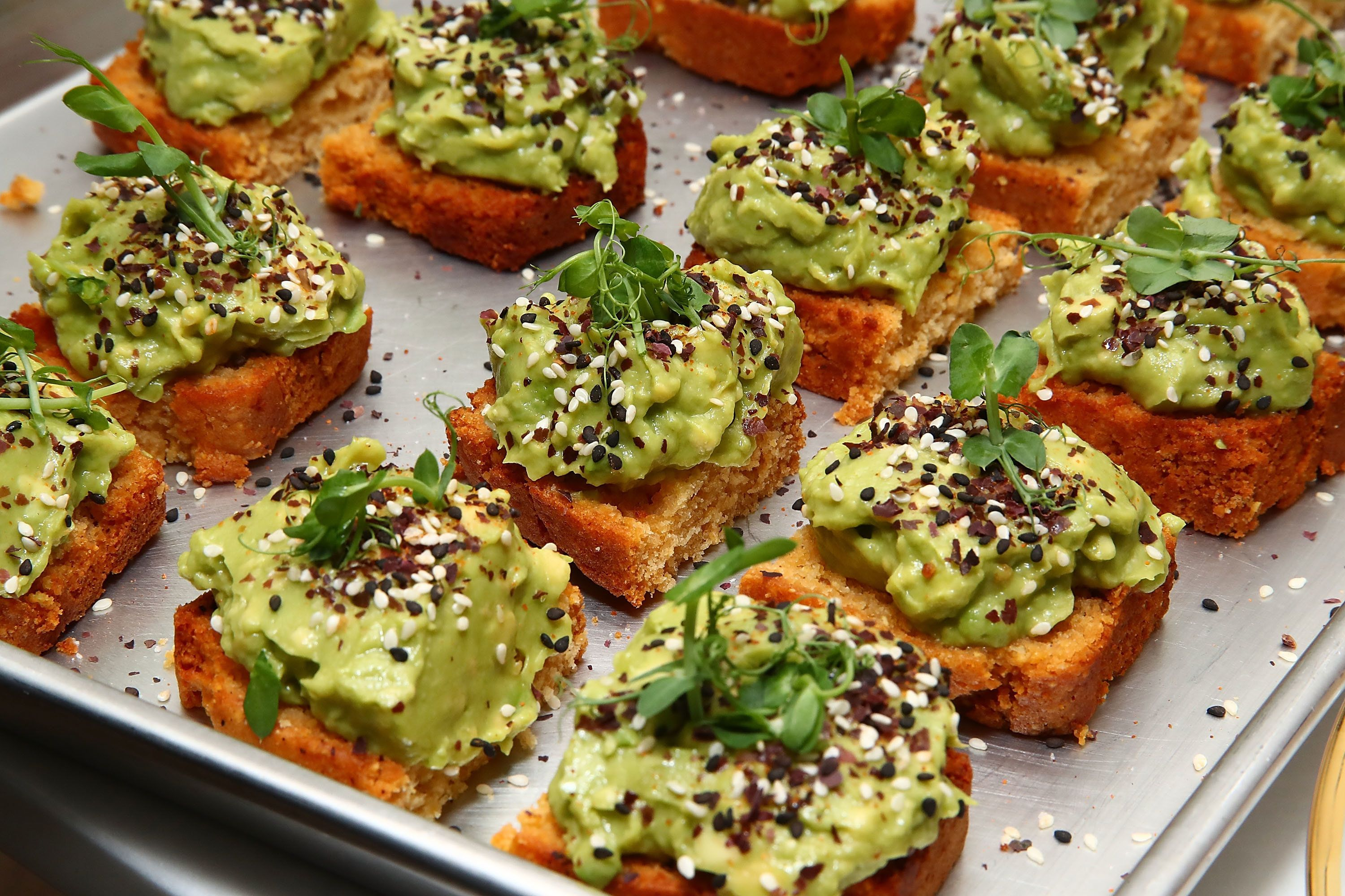 NEW YORK, NY - APRIL 19:  Avocado toast is served during CBD For Life future of healing event held at the Alchemists Kitchen on April 19, 2017 in New York City.  (Photo by Astrid Stawiarz/Getty Images for CBD For Life)
