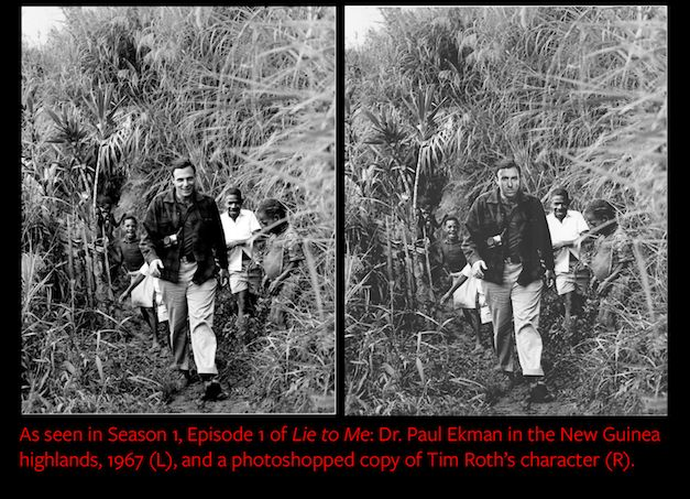 Comparing the original photo of Paul Ekman, left, with the photoshopped version of Tim Roth, right.