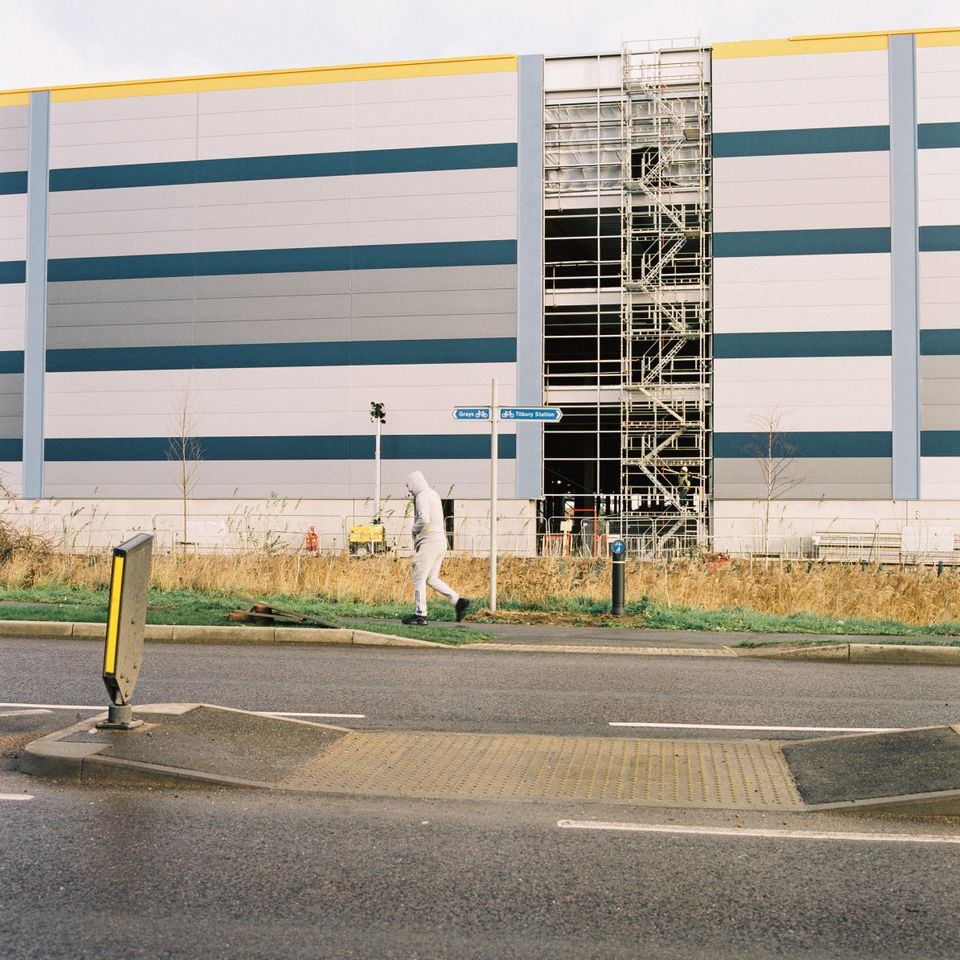 The new Amazon warehouse rises on the outskirts of Tilbury. Jan.