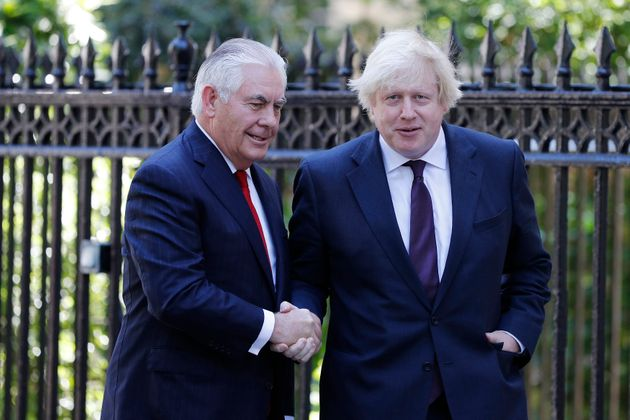 Foreign Secretary Boris Johnson greets US Secretary of State Rex Tillerson, prior to talks at 1 Carlton...