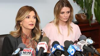WOODLAND HILLS, CA - MARCH 15:  Actress Mischa Barton (R) and her Attorney Lisa Bloom (L) hold news conference on March 15, 2017 in Woodland Hills, California.  Barton and her attorney held the conference to address the legal action they are taking against a former boyfriend and a sex tape that allegedly features the actress.  (Photo by Paul Archuleta/Getty Images)