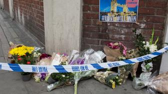 In the aftermath of the London Bridge and Borough Market terrorist attack the previous night, flowers are starting to appear a half a mile from the crime scene where 7 people were killed and many others injured (Sunday's total). On Sunday 4th June 2017, in the south London borough of Southwark, England. (Photo by Richard Baker / In Pictures via Getty Images)