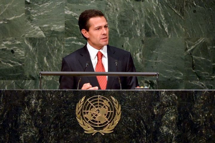Mexican President Enrique Peña Nieto addressing the UN on the country's anti-narcotics strategy.