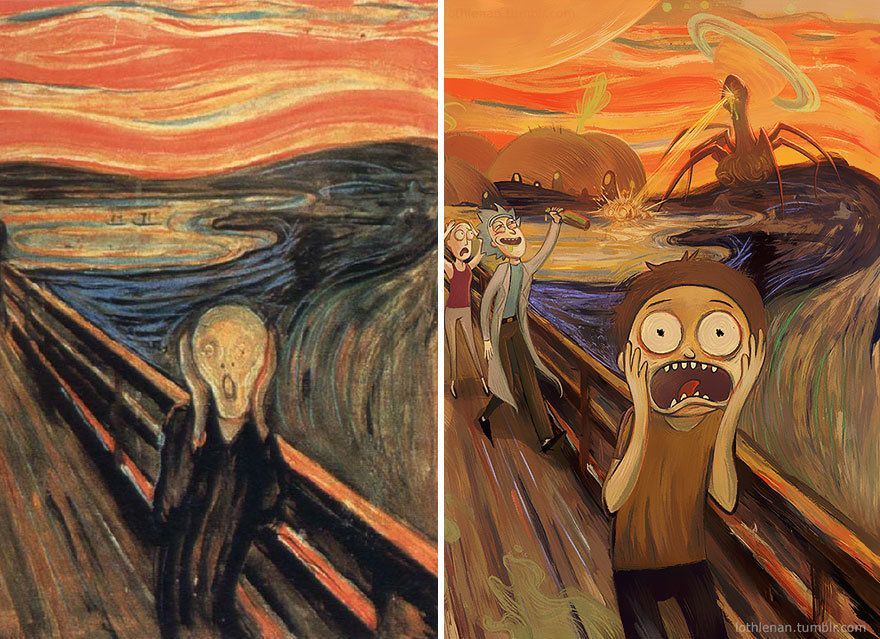Artist gives famous paintings geeky cartoon makeovers for Crazy mural lady