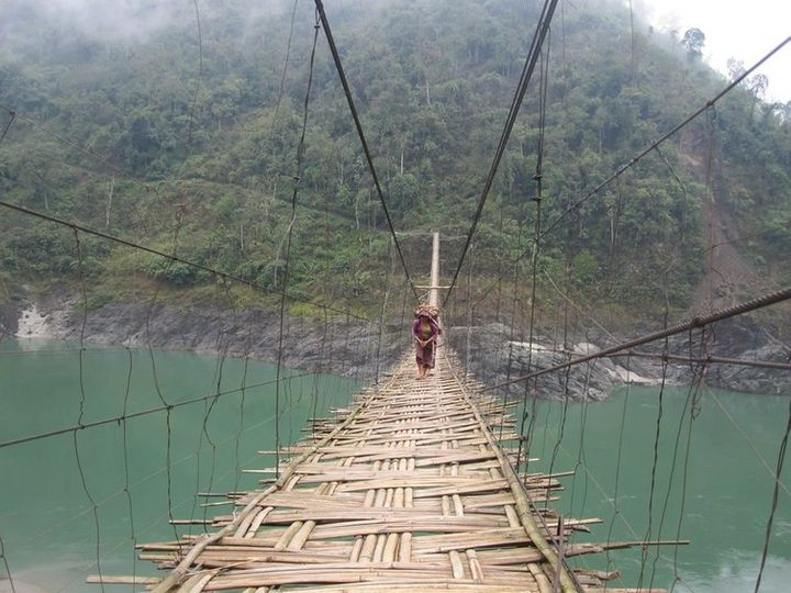 This typical bamboo bridge connects remote villages over rivers in Arunachal Pradesh.