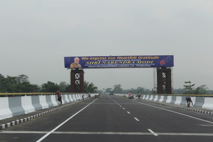 The Bhupen Hazarika Bridge, connecting Dhola and Sadiya in Assam, about to be inaugurated.