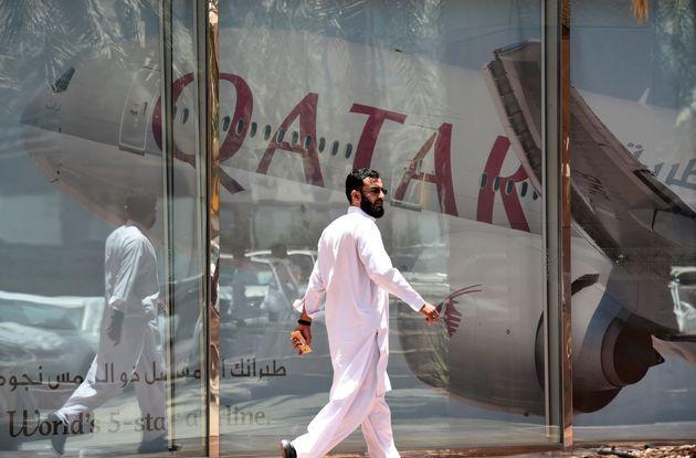 Qatar Airways branch in the Saudi capital Riyadh, after it had suspended all flights to Saudi