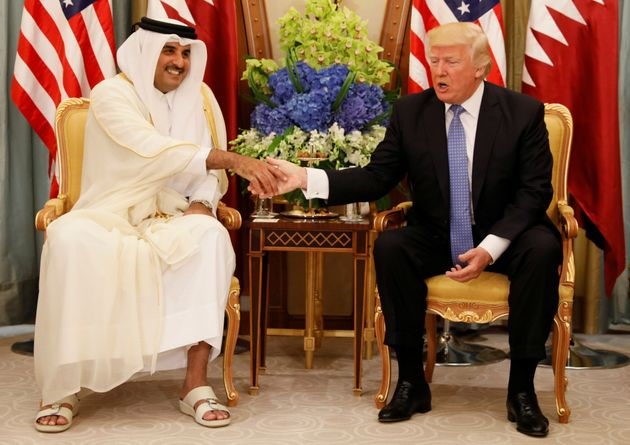 Qatar's Emir Sheikh Tamim Bin Hamad Al-Thani meets with US President Donald Trump in Riyadh, Saudi Arabia,...